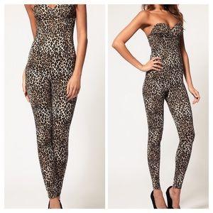 New Asos Pants Romper Strapless Sweetheart Leopard